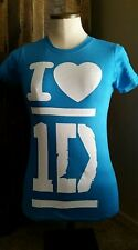 NEW I HEART ONE DIRECTION 1D T-SHIRT WOMENS SHORT SLEEVE TEE TEAL BLUE S SMALL