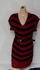 Large Sweater Dress Short Sleeve Made For Me Look Amazing Red Zinfandel  Stripe