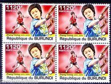 Zhang Yining Female Table Tennis World Champ, China, Sports Burundi 2011 MNH Blk