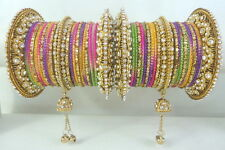 NEW INDIAN TRADITIONAL MULTI COLOR KUNDAN CZ GOLD TONE BANGLES CHURI SET JEWELRY