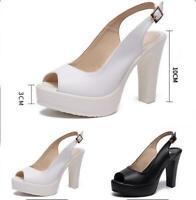 Womens Platform Slingback Sandals Ladies High Block Heels Peep Toe Wedding Shoes