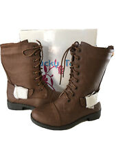 NIB Girls Brown Riding Lace Up Boots Youth 1