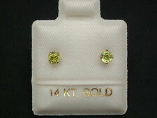 Feinste Peridot Ohrstecker Ohrringe - 2,7 mm - 14 Kt Gold 585 - Brillant Schliff