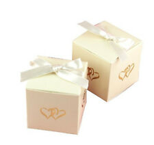 NEW Gold Linked Heart Ivory Favor Boxes Wedding Party