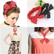 Art Deco gorgeous Retro Headband Bowknot Polka Dot Hair Holders (Pack of Two) SN