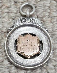 Sterling Silver Fob Antique 1922 Hallmarked Medal with Gold Cartouche