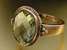 R277 - Genuine 9ct Solid ROSE Gold Natural Large GREEN AMETHYST Ring size O 7.25