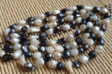 """New Long 46 """"7-8mm Baroque Black White Freshwater Pearl Necklace"""