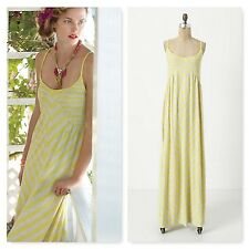 Anthropologie Saturday Sunday Smocked Maxi Chemise Dress yellow striped XS