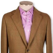 NWT BELVEST Brown-Red Windowpane Heavy TWEED Unlined Soft Cut Sportcoat 40 40r