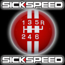 RED/WHITE RALLY STRIPE SHIFT KNOB FOR 6 SPEED SHORT THROW SHIFTER 10X1.5 K13