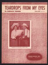 Teardrops From My Eyes 1950 Gene Autry and Jo Stafford Sheet Music
