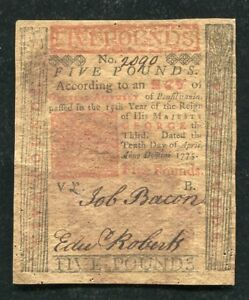 PA-176 APRIL 10, 1775 5 FIVE POUNDS PENNSYLVANIA COLONIAL CURRENCY NOTE