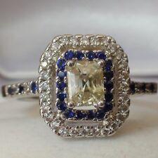 1.05 ct EMERALD CUT MOISSANITE & SIMULATED DIAMOND 925 SILVER RING.SIZE 10.00