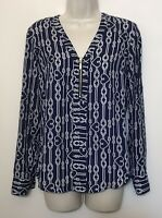Express XS Blouse Navy Blue & White Long Sleeve 1/2 Zip V-Neck Top