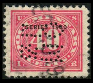 R273 REVENUE Documentary 40c Rose SERIES 1940 OVERPRINT Perfin SEE PHOTOS H-479