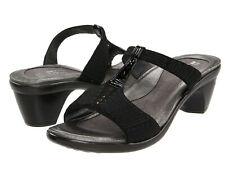 Naot Delia Velvet Crinkle Heel Slide Wedge Sandals Sz 41 US 10 Black NEW
