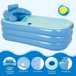 Inflatable Adult PVC Folding Portable Blow Up Bathtub Bath Tub Air Pump Spa Warm