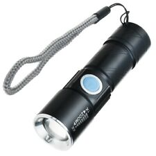 Uktra Bright LED USB Rechargeable Flashlight Torch Zoom Lamp Light Emergency Use