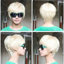 Mens Boys Trendy Short Straight Platinum Blonde Wig Cosplay Party Costume Best