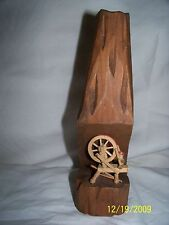 Souvenier Miniture Wooden Spinning Wheel hand carved numbered & initialed
