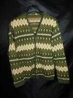 Vintage 70s Tyrol M L Mens Green White Nordic Wool Cardigan Sweater MCM Austria