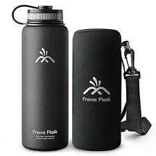 40 oz Stainless Steel Water Bottle, Fnova Flask 40oz Insulated Double Walled 24