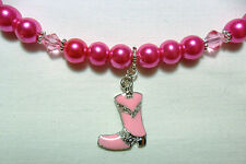 "Choker necklace, bright pink glass pearls + boot 17""-19"""