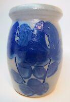 Stoneware Blue Glaze Floral Decorated Crock Pot Jar Salmon Falls Dover NH