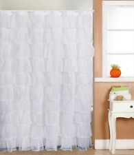 "Gypsy Ruffled Voile Sheer Shower Curtain 72"" wide x 72"" long WHITE"