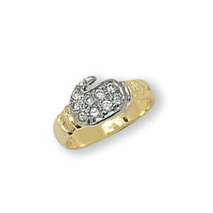 9ct Yellow Gold Baby Cubic Zirconia Boxing Glove CZ Boys Ring Sizes A - M