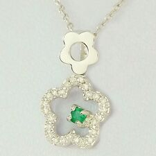 NATURAL EMERALD & 25 DIAMOND GOLD PENDANT WITH 45CM SOLID GOLD NECKLACE CHAIN.