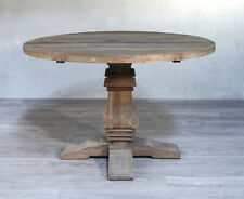 Ex-Display Dining Table Round Recycled Elm Hardwood Pedestal 120cm Provincial