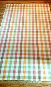 """Country Curtains Moire Plaid Buffalo Check Red Gold Green 2 Panels 50x91"""""""