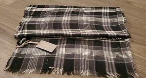 TOM FORD black & purple plaid cashmere blend scarf NWT