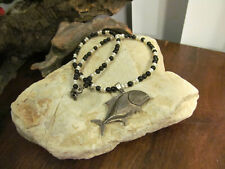 Vtg 925 Sterling Silver Black Onyx Natural Pearl Grouper Fish Pendant Necklace