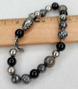 David Yurman Sterling Silver Elements Hematite Black Onyx Beads Bracelet