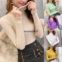 Autumn Thermal Women Turtleneck Knit Sweater Jumper Bottom Shirt Fit Top Blouse
