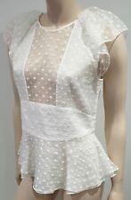 ISABEL MARANT White Silk Sheer Panel Embroidered Short Sleeve Blouse Shirt Top