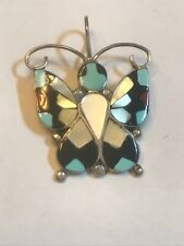 """ZUNI INLAY STERLING SILVER """"BUTTERFLY"""" Pendant, SIGNED A. DISHTA Alison Allison"""
