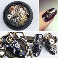 Lots 100pc 3D Punk Gear Design Nail Art Decoration Metal Studs Manicure Tips DIY