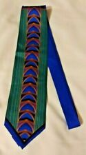 "LUGARI 100% Silk Handmade  Art Deco Power Tie Blue Multi Color 63 x 4"""