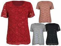 Womens New Floral Lace Sequin Ladies Short Sleeve T-Shirt Party Top Plus Size