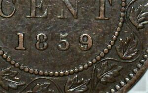1859 WIDE 9 OVER 8 CANADIAN LARGE CENT - .99c START!!