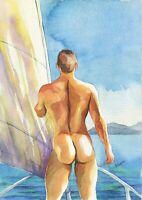 "PRINT Original Art Work Watercolor Painting Gay Male Nude /""Warmly/"""