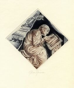 Medieval Book Writer, Alphabet,  Ex libris Etching by Guido Mariman