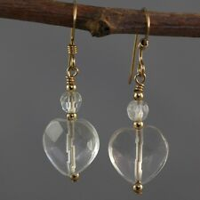 14k Gold Filled Faceted Clear Quartz Heart Dangle Earrings