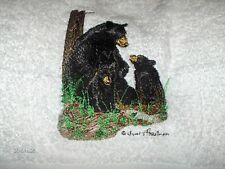 BLACK BEAR FAMILY NEW SET OF 2 HAND TOWELS EMBROIDERED