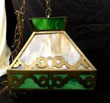Antique Arts & Crafts (?) Slag Glass Hanging Lamp