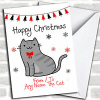 Grey Tabby From Or To The Cat Pet Christmas Customised Card